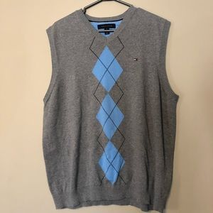Tommy Hilfiger XL Blue/Gray checkered Sweater Vest